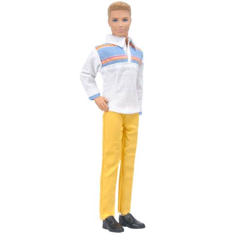 E-TING Casual Wear Plaid Shirt Long Sleeved T-shirt Jeans Pants Trousers Doll Clothes for Barbie Fashionistas Ken Doll (006#WY) - E-TING