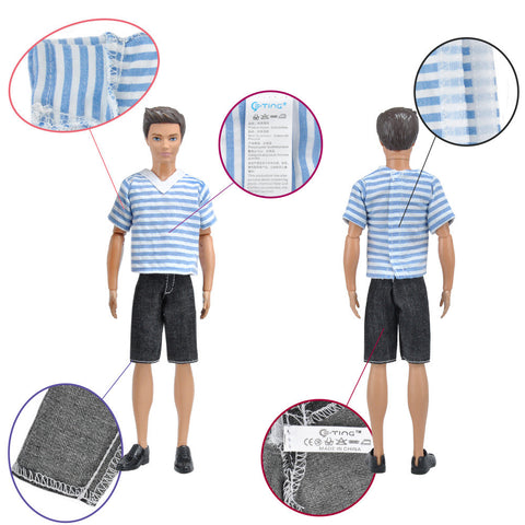 E-TING 1 Set Fashionistas Casual Wear T-shirt Pants Pack Summer Look for Ken Doll New Arrivals - E-TING