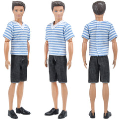 E-TING Fashionistas Ken Doll Clothing 3 Sets Casual Wear Handmade Clothes Pants Outfits for Barbie Boy Dolls - E-TING