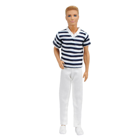 E-TING Casual Wear Doll Clothes T Shirt Pants Trousers Outfit For Barbie Ken Doll (Black-White Stripe Clothes+ White Trousers) … - E-TING