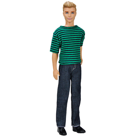 E-TING Casual Wear Doll Clothes T Shirt Pants Trousers Outfit For Gril Boy Doll (Green black stripes Clothes and Dark Blue Trousers) - E-TING