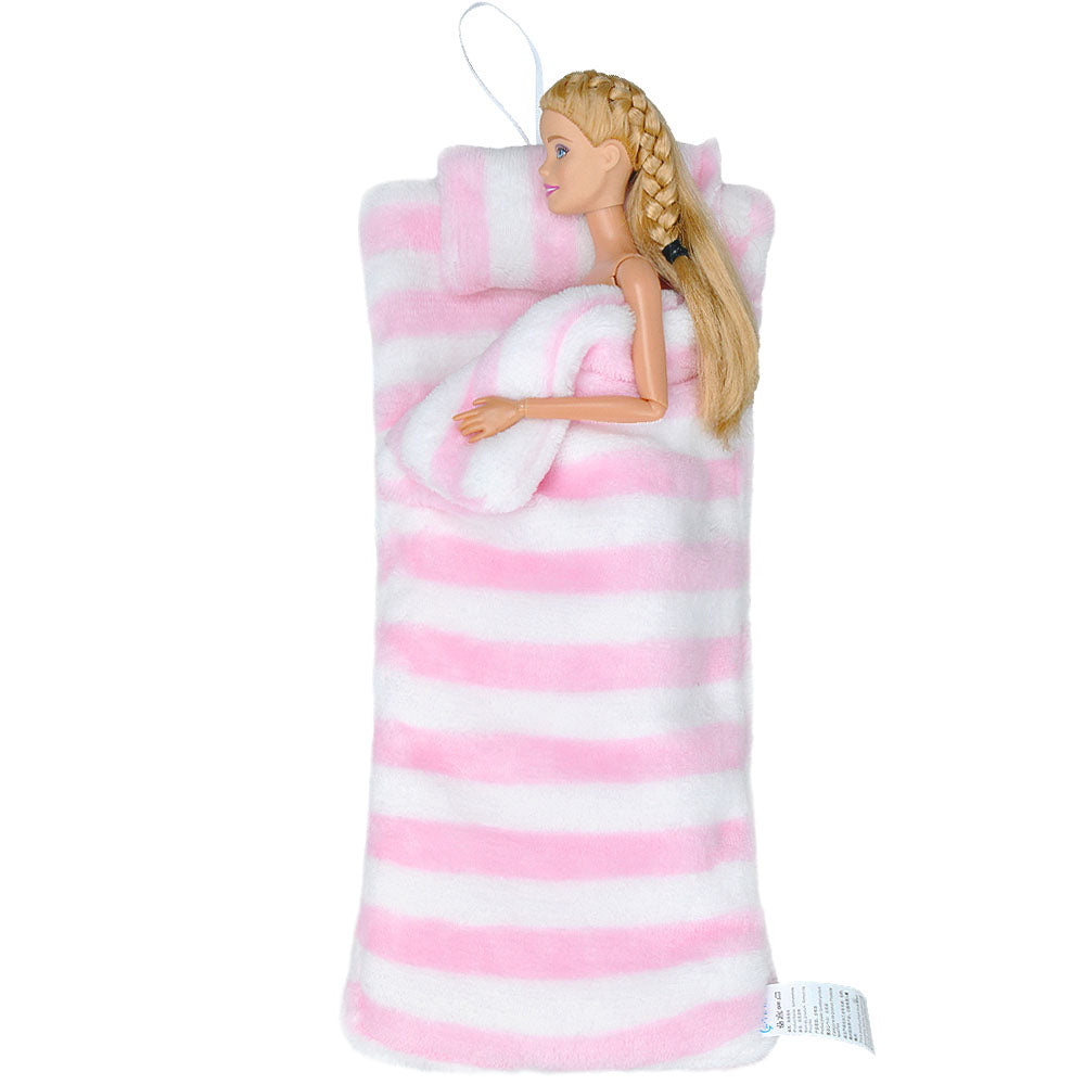E-TING Handmade Fluff Sleeping Bag for Girl Doll Bedroom Accessories (Pink and White Stripes) - E-TING