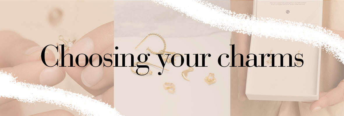 Image of girl threading a charm on the hoop, images or charm hoop earrings in a box