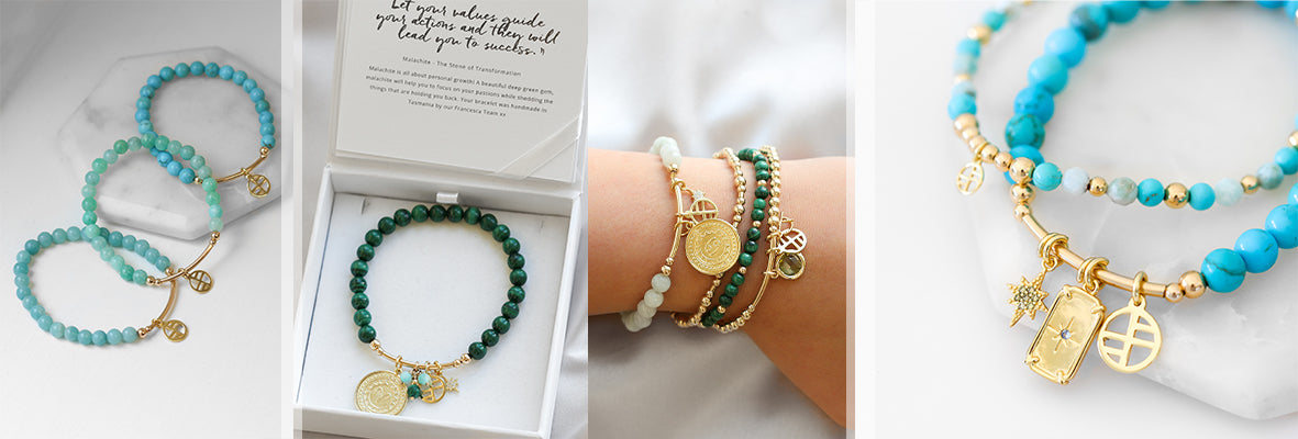 Blue stone bracelets featuring charms