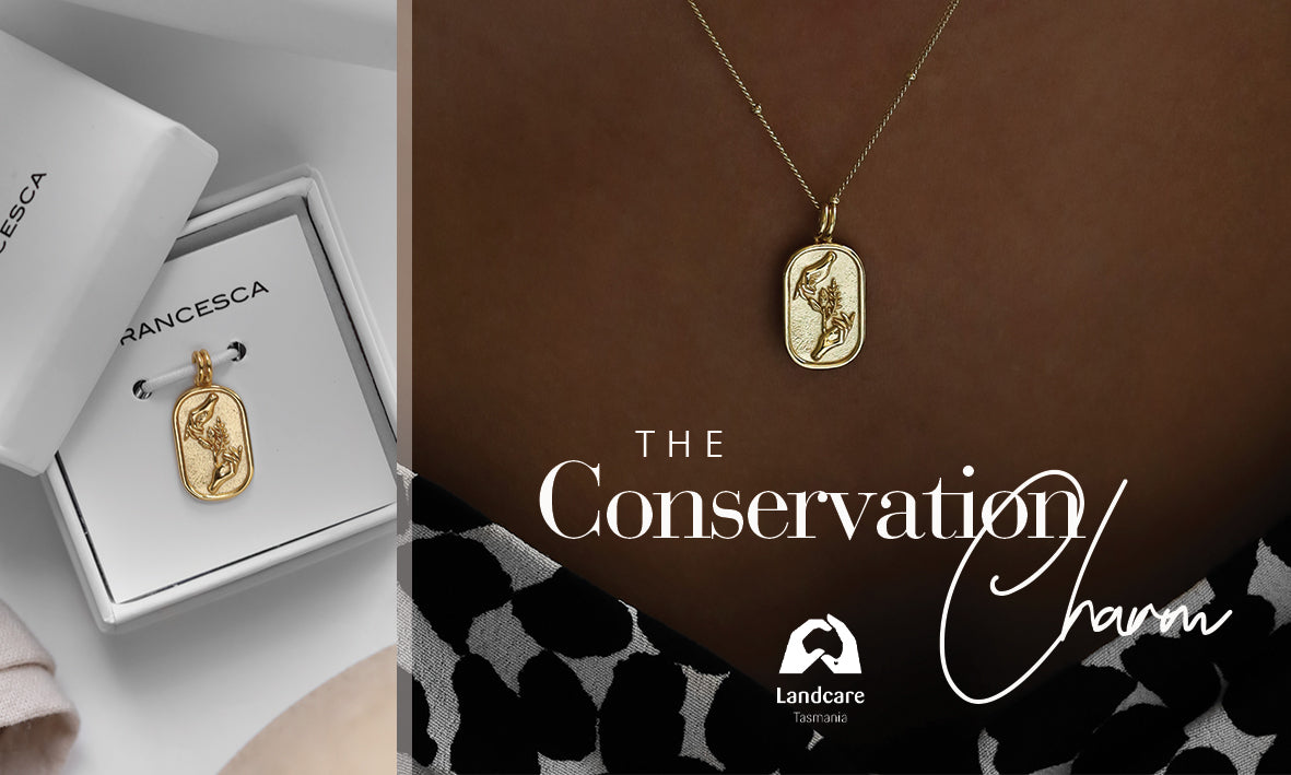 """Close up image of the charm, a rectangle pendant featuring two hands cupping an olive branch. The image has the words """"the conservation charm"""" overlayed over it"""