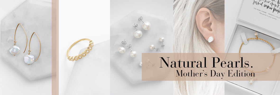 Images of natural pearl jewellery in boxes, unboxed and worn, composed in a graphic