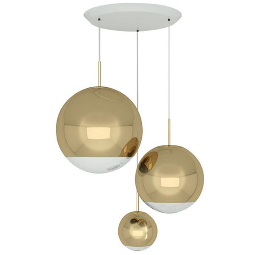 MIRROR BALL GOLD RANGE ROUND PENDANT SYSTEM Tom Dixon