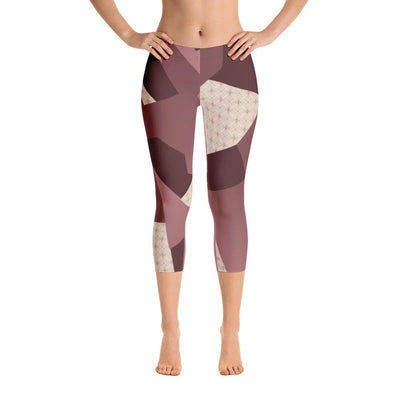 Leggings - Angular Camo  Blush Capri Leggings