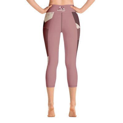 Leggings - Angular Camo  Blush Yoga Capri Leggings