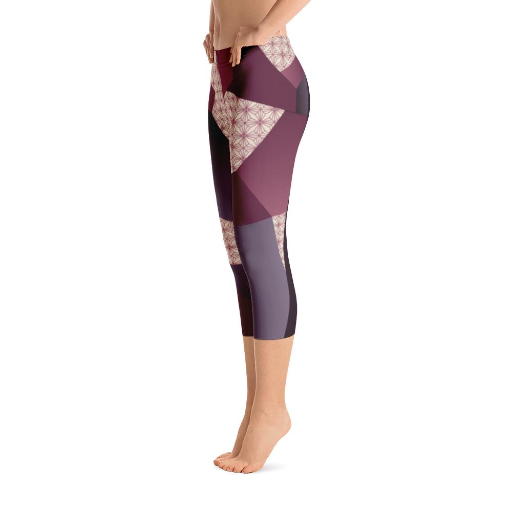 Leggings - Angular Geo Camo Purple Capri Leggings