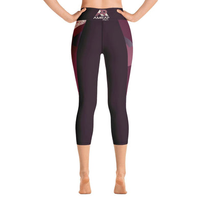 Leggings - Angular Geo Camo Yoga Capri Leggings Purple