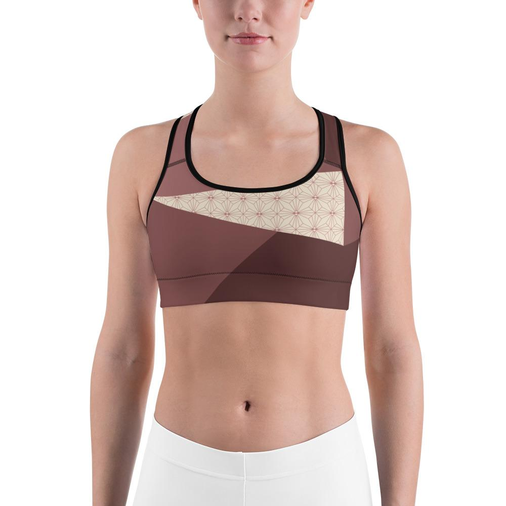 Sports Bra - Angular Geo Camo Sports Bra Blush