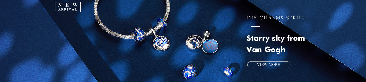 Bamoer Night Blue Starry Sky From Van Gogh Enamel Charms and Beads