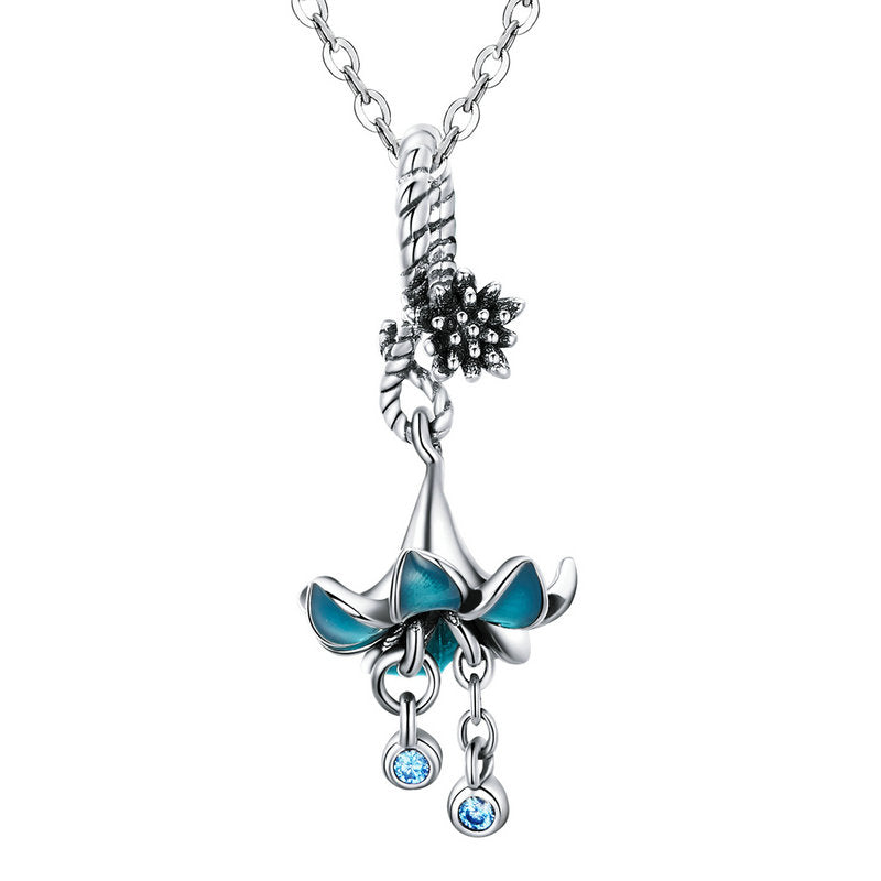 BAMOER BEAUTIFUL 925 STERLING SILVER PENDANTS BLUE FLOWERS BSC034 | BAMOER