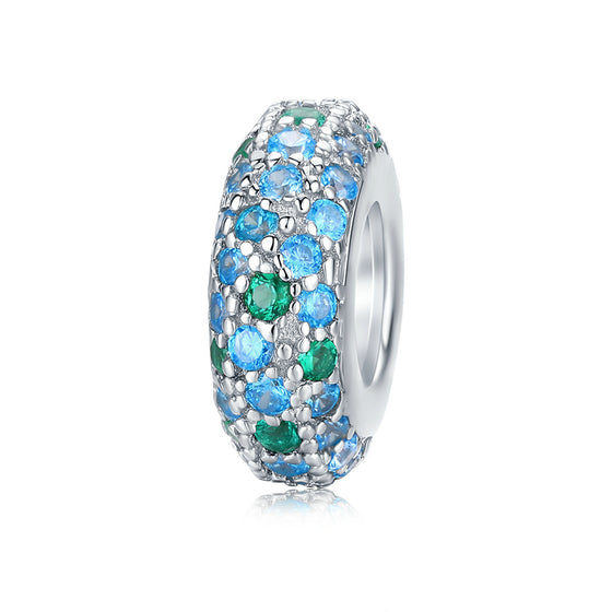 Stopper Charm with Silicone Bead for Women Original Charm Bracelets Blue CZ Fine Jewelry BSC119 | BAMOER