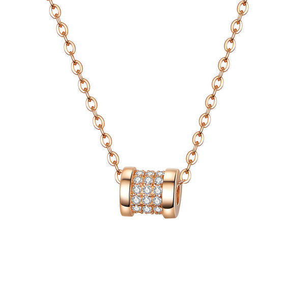 bamoer Rose Gold Color Round Bead Necklace BSN114 | BAMOER
