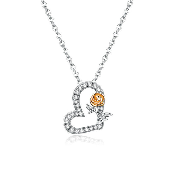 bamoer Heart and Rose Pendant Chain Necklace BSN132