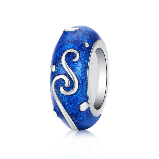 Starry Sky Night Blue Enamel Stopper Charm with Silicone for Luxury Brand Bracelet & Bangle SCC1388 | BAMOER