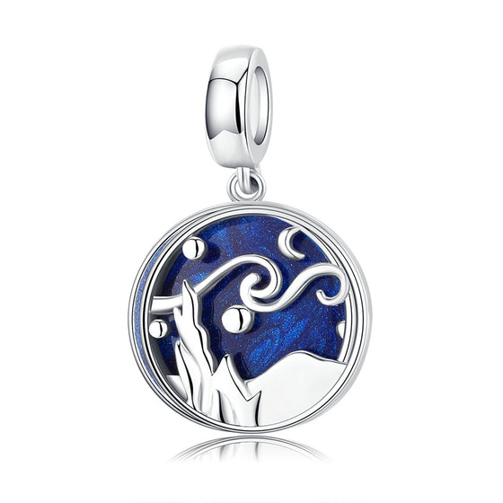 Starry Sky Night Blue Enamel Pendant Charm fit Women Original Bracelet and Necklace Jewelry SCC1389 | BAMOER