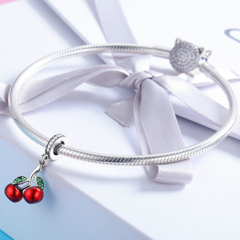 BAMOER 925 Sterling Silver Fruit Red Enamel Cherry Pendant Charm for Women Bracelets Necklaces