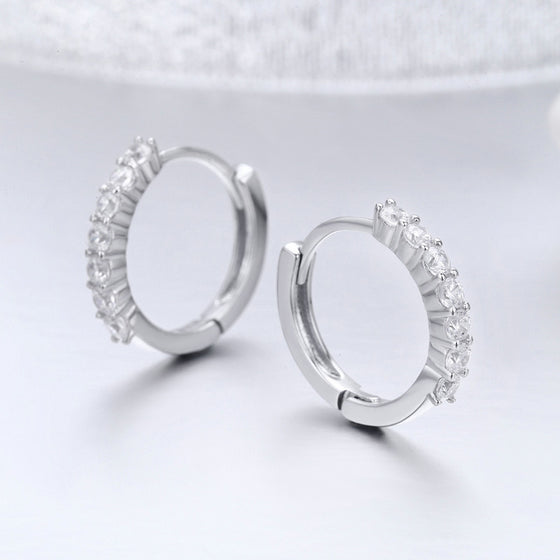 925 Sterling Silver CZ Crystal Circle Round Earrings for Women | BAMOER
