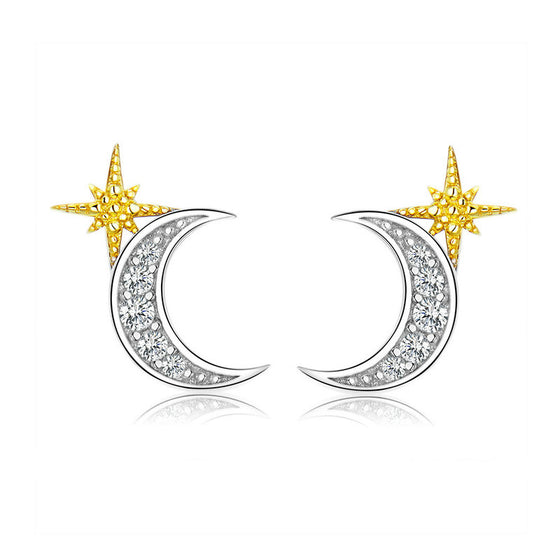 BAMOER MOON AND STAR EARRING JEWELRY SCE729 | BAMOER