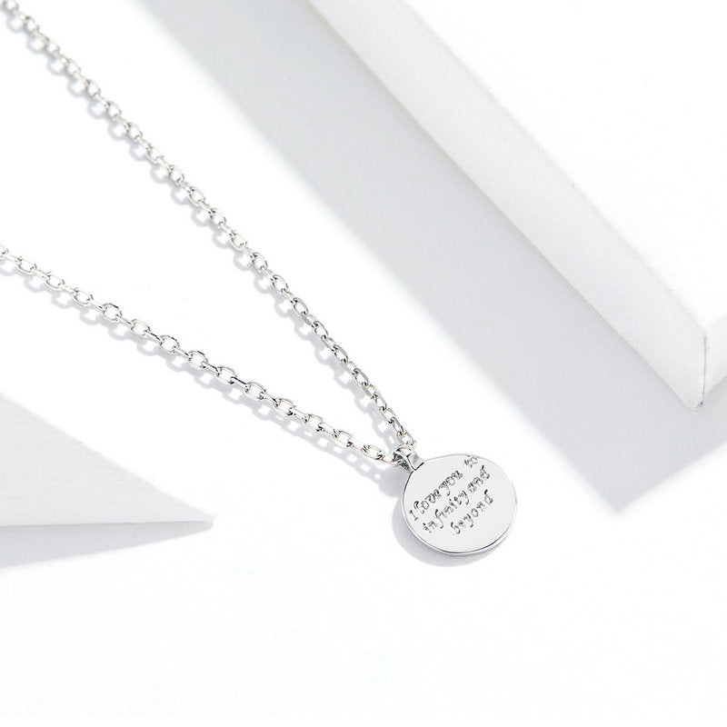Round Coin Pendant Neckalce for Women Engraved Promise  Words Chain Neckalce Bijoux SCN374 | BAMOER