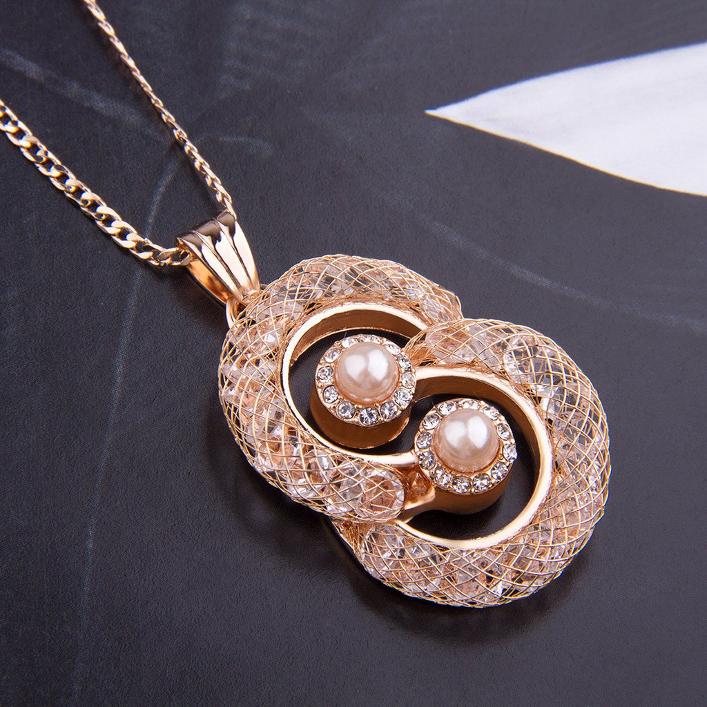 18K Real Crystal Pendant Necklace with imitate Pearl For Women Wedding  JSN071