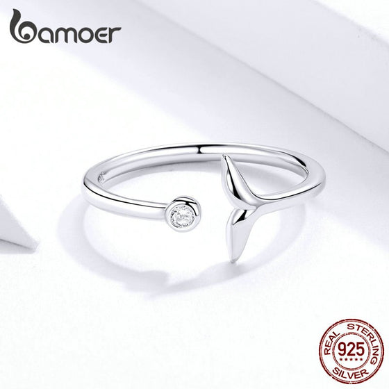 2 Color Fish Tail Mermaid Open Finger Ring SCR618 | BAMOER