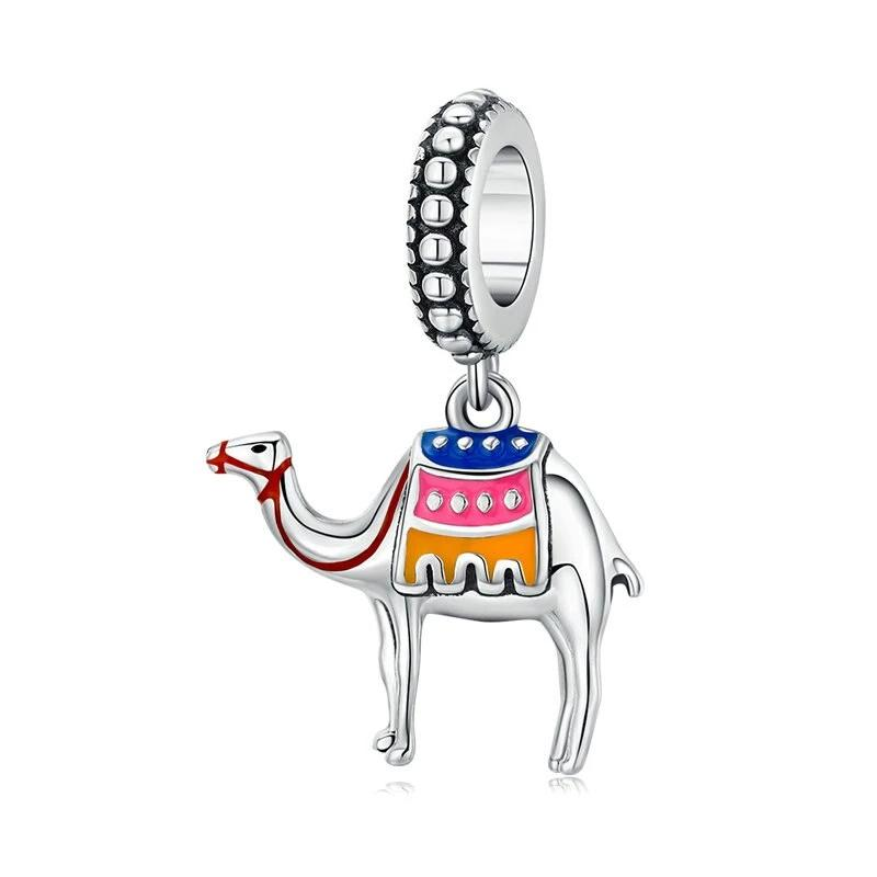 bamoer Desert Camel Pendant Charm Sterling Silver 925 Enamel Animal Charm fit 3mm Snake Bracelet Fashion Jewelry SCC1376