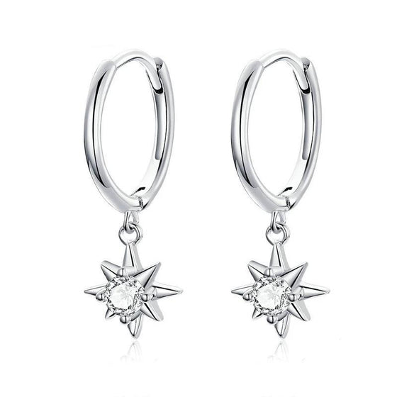 bamoer Hoop Earrings with Charm SCE759 | BAMOER