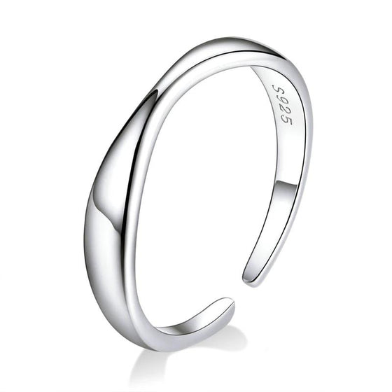 bamoer Irregular Ocean Wave Finger Rings for Women 925 Stelring Silver Free Size Adjustable Ring Female Fashion Jewelry SCR630 | BAMOER