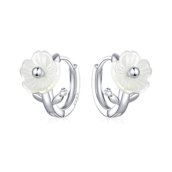 bamoer Silver 925 Jewelry White Shell Flower Tiny Hoop Earrings for Women Elegant Female Jewelry Accessories Gifts BSE321 | BAMOER