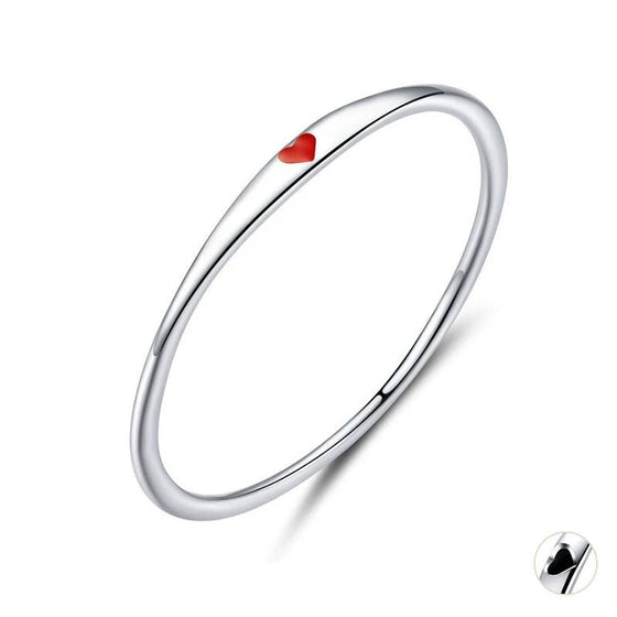 Tiny Red Enamel Heart Finger Rings for Women Circle Slim Fashion Jewelry SCR620 | BAMOER