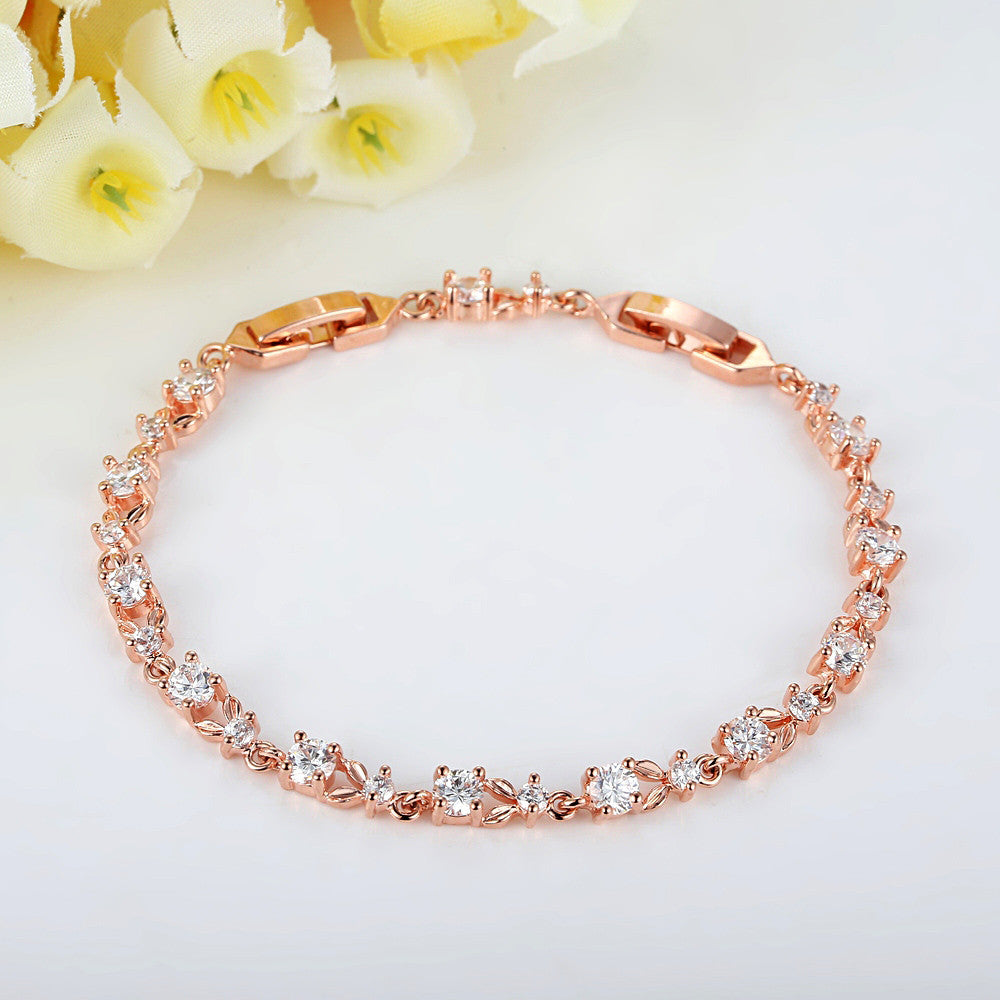Colorful AAA Cubic Zirconia Gold Plated Copper Link Charm Bracelets Adjustable Size 17,19 CM JIB013