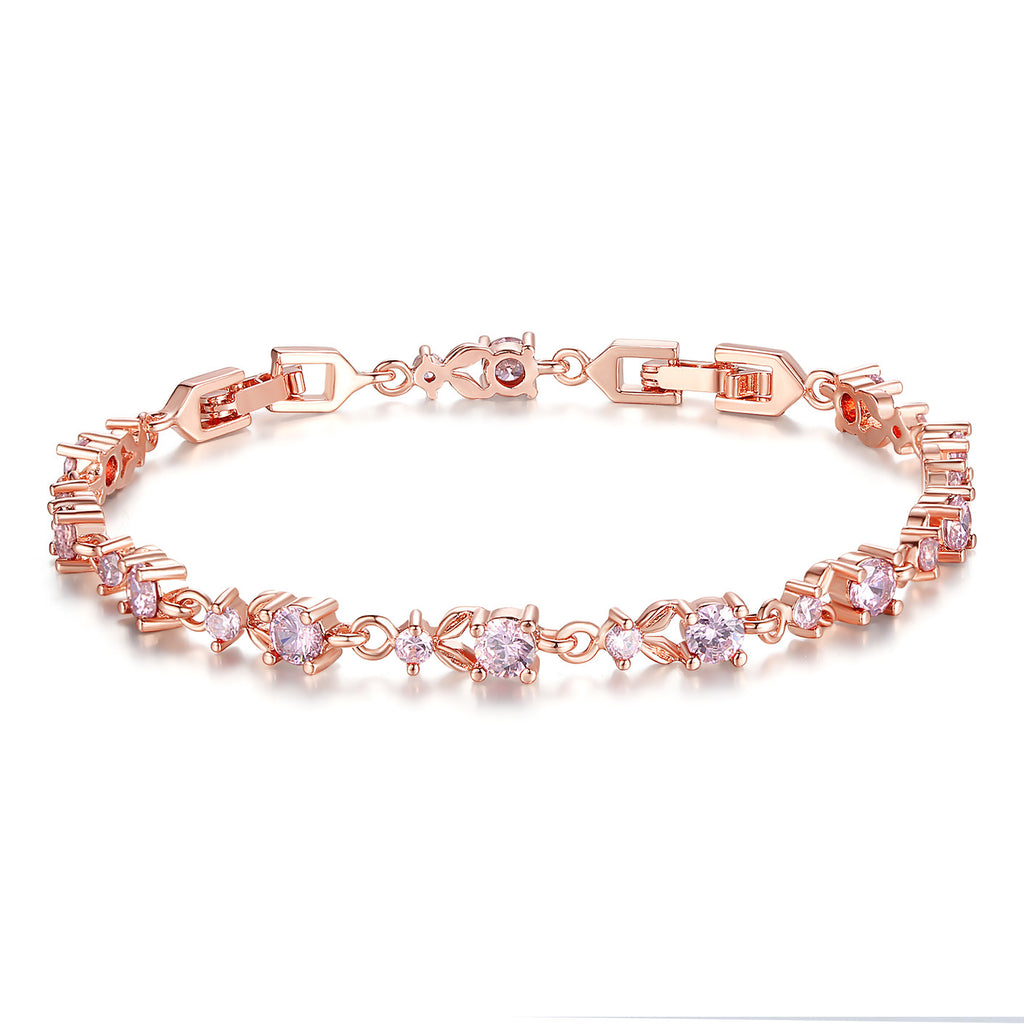 Luxury Slender Rose Gold Plated Bracelet with Sparkling Pink Cubic Zirconia Stones JIB013-PK
