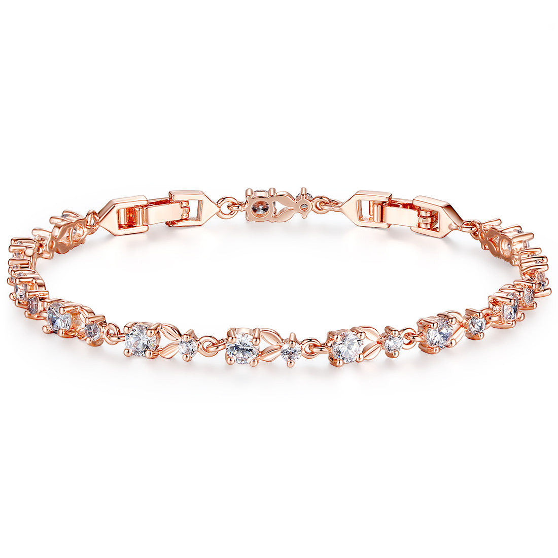 Colorful Aaa Cubic Zirconia Gold Plated Copper Link Charm Bracelets  Adjustable Size 17,19 Cm