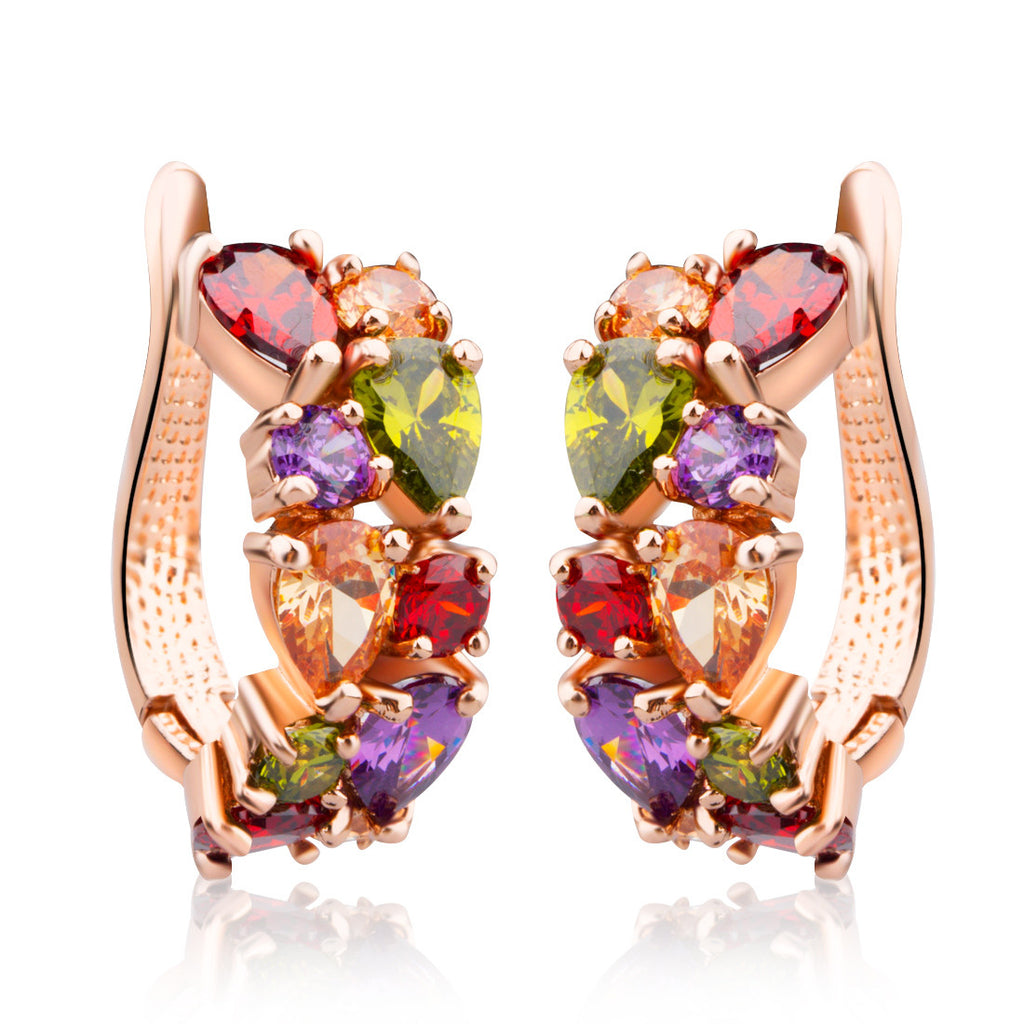 Rose Gold-Plated Red Green Yellow Multicolor Cubic Zirconia Stone Hoop Earrings JIE020