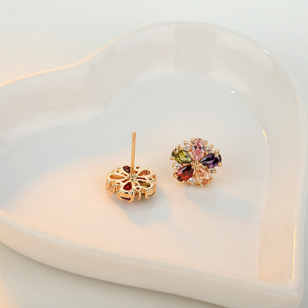 2015 New Luxury Earring Rose Gold-Plated 6 Color Cubic Zirconia CZ Stud Earrings JIE028