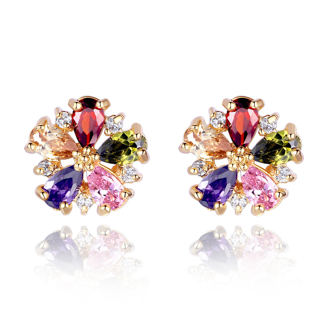 setting color party earrings cz square earring crystal in accessories palted stud stone on crytsal gold for jewelry women wedding item from body