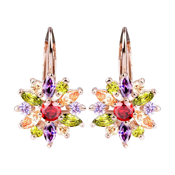 18K Gold Plated Drop Earrings with Multicolor AAA Zircon For Gilrs Sisters Jewelry JIE042