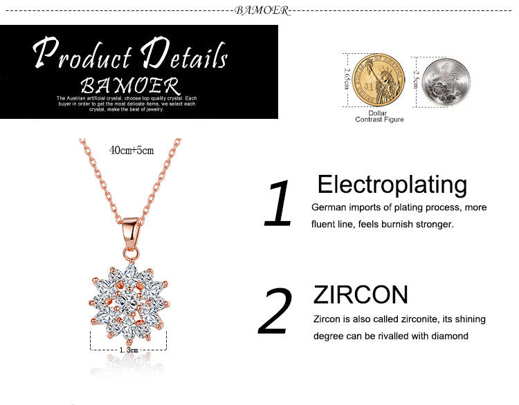 Rose Gold Plated Clear Cubic Zirconia Snowflake Fashion Pendants Necklaces Chains  JIN024