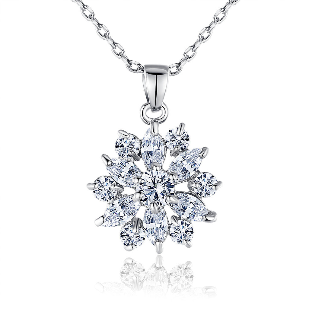 White Gold Plated Clear Cubic Zirconia Snowflake Cute Pendants Necklaces Chains Adjustable JIN028