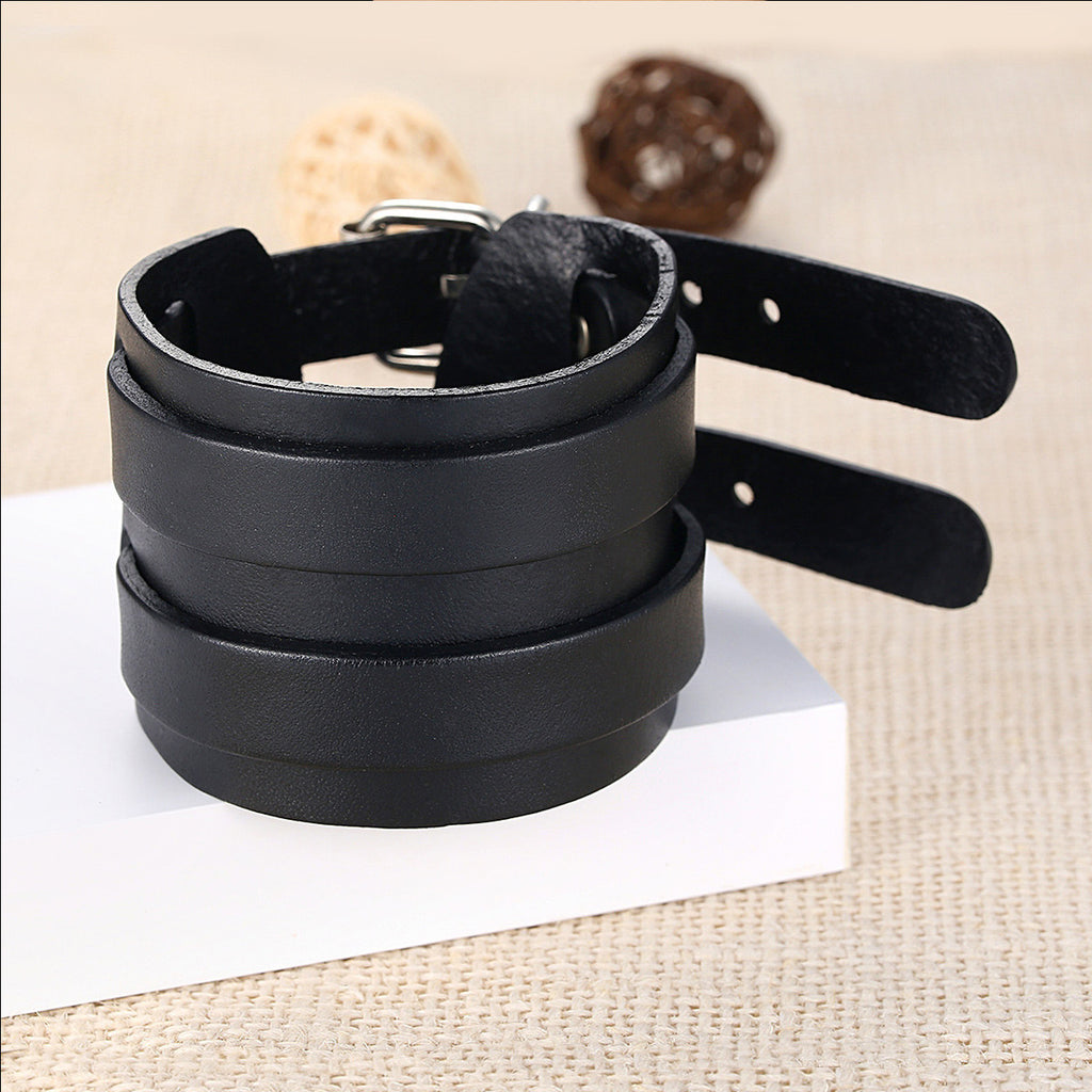 Popular Men & Women Retro Black Leather Wide Cuff Bracelet with Adjustable Double Clasp Fashion Jewelry  PI0094-1