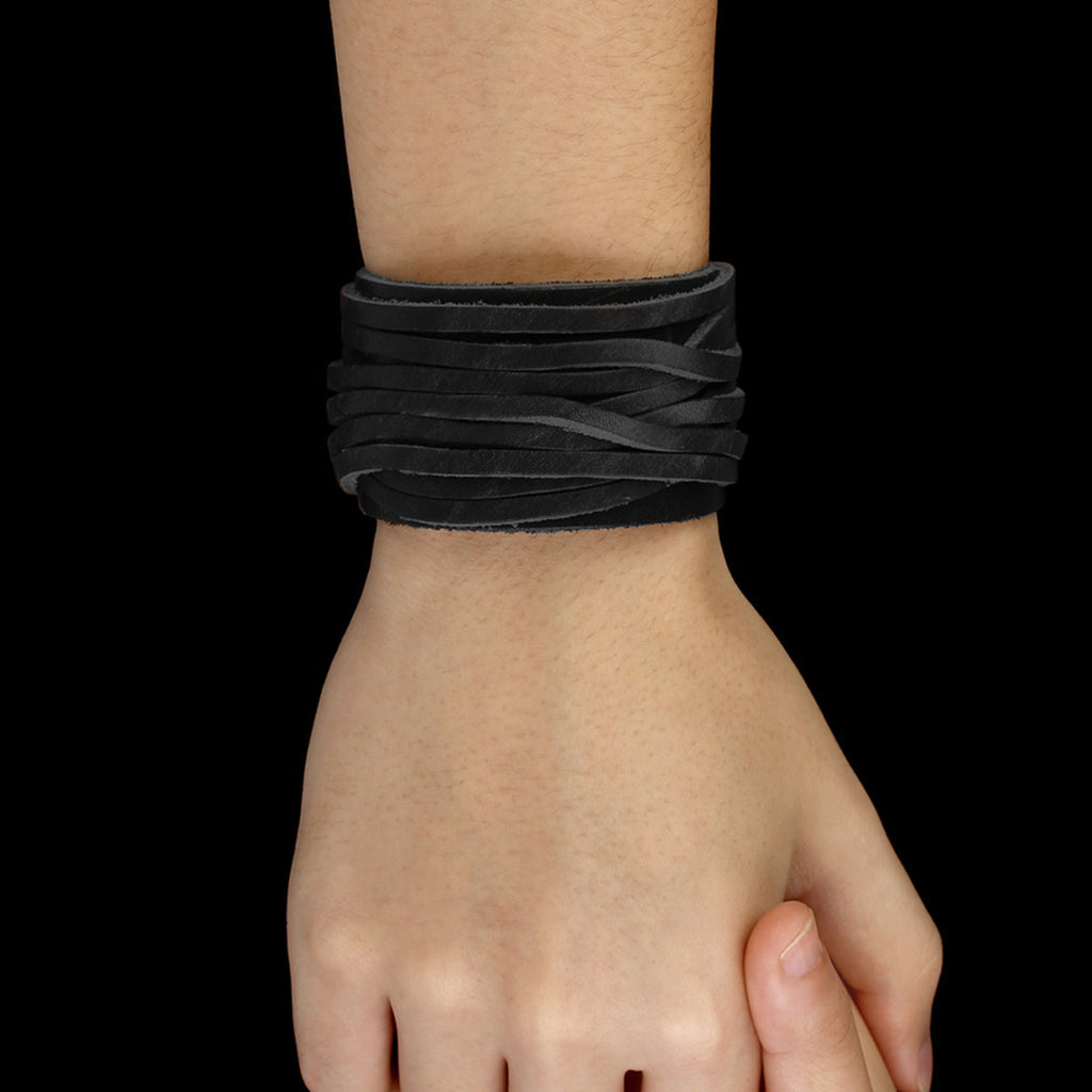 Black Wide & Adjustable Genuine Leather Bracelet With Alloy Buckle Clasp Fashion Unisex Bracelets Jewelry PI0337-2