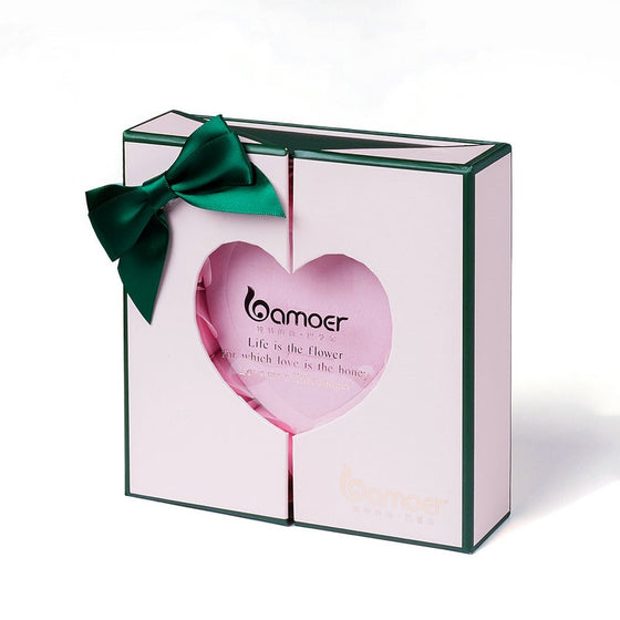 bamoer Luxury Jewelry Box Gift Pink Perfume Rose Flower Inside Valentine's Day Gifts for Her BZ0050 | BAMOER