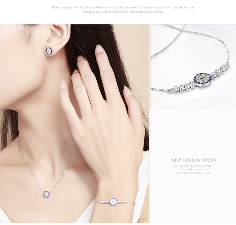 0fc416458 BAMOER Authentic 925 Sterling Silver Round Blue Eyes Clear CZ Tennis  Bracelets Necklaces Earrings Women Bridal Jewelry Sets