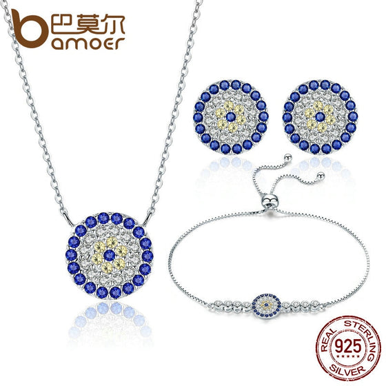 BAMOER Authentic 925 Sterling Silver Round Blue Eyes Clear CZ Tennis Bracelets Necklaces Earrings Women Bridal Jewelry Sets