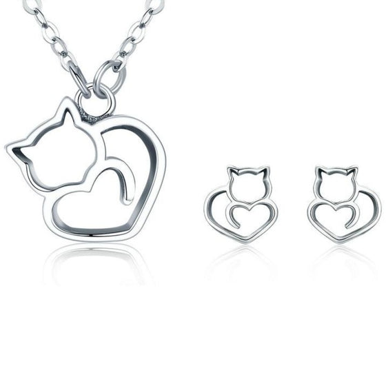 BAMOER 100% 925 Sterling Silver Lovely Pussy Cat Women Jewelry Set Necklace Earrings Jewelry Sets Sterling Silver Jewelry Gift