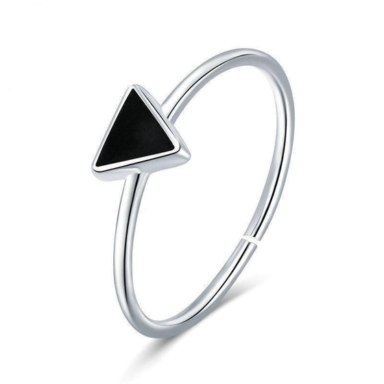 100% 925 Sterling Silver Black Triangle Simple Open Ring For Woman Female Modern Party Gift Silver Fine Jewelry VSR158 | BAMOER